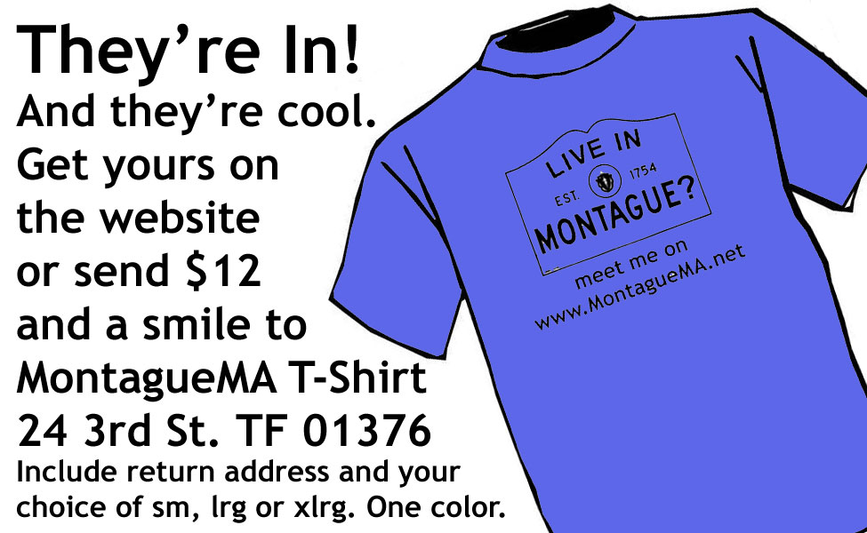 The MontagueMa.net T-Shirt is here. Order yours today and be the first on your block!