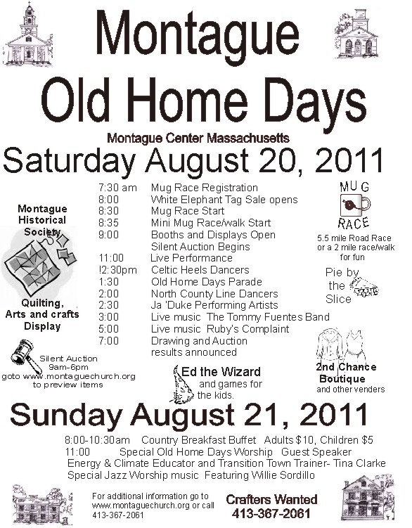 Montague Old Home Days 2011 poster. Come one come all!